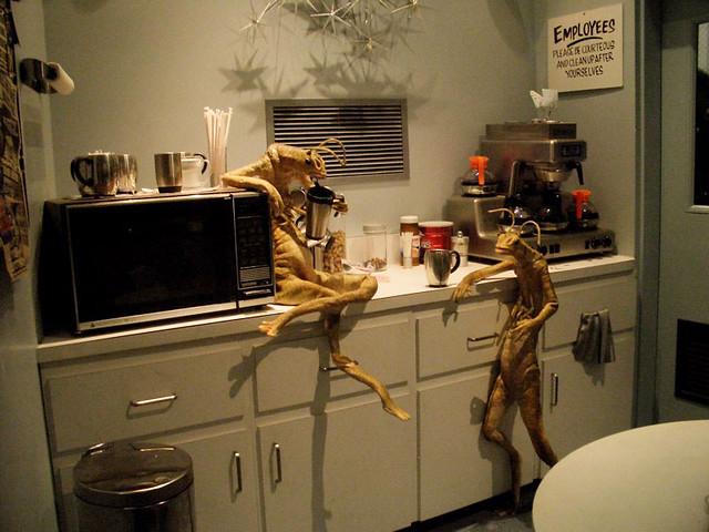 Men In Black Aliens Drinking Coffee Aliens Gossiping...   ...