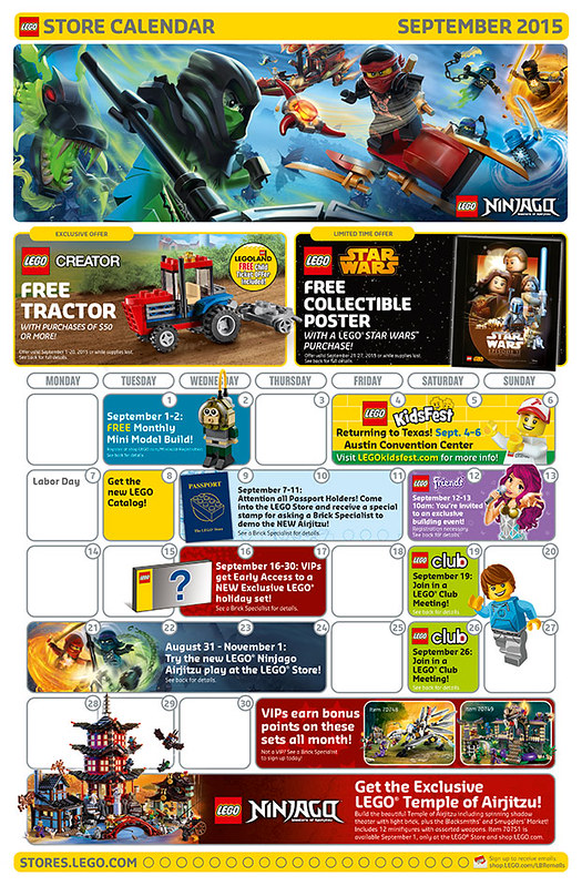 LEGO Shop September 2015 Calendar