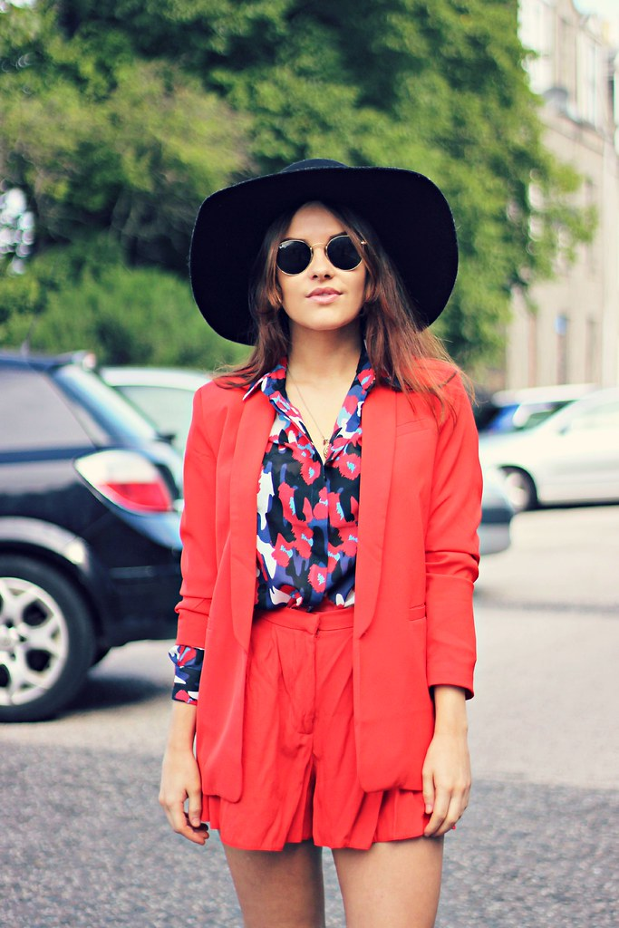 ASOS red shorts suit The Little Magpie 5