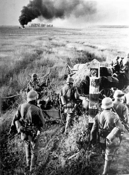 Wehrmacht troops cross the borders of the Soviet Union during Operation Barbarossa