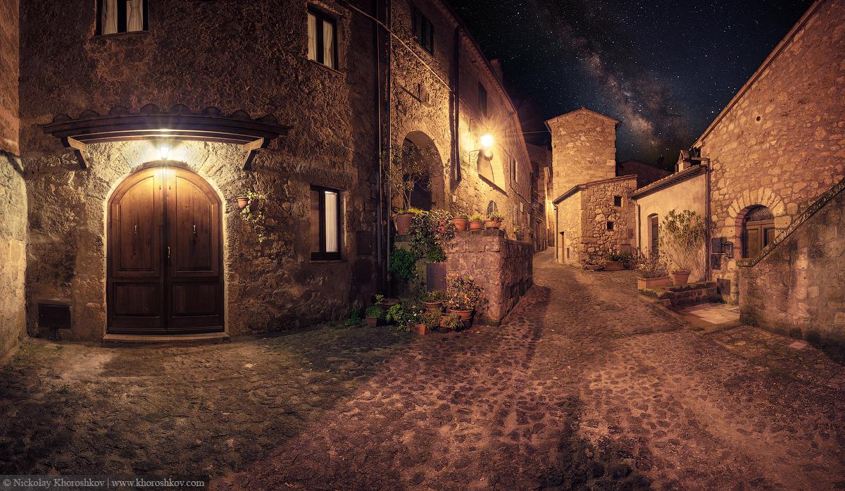 Medieval town Sorano street at night
