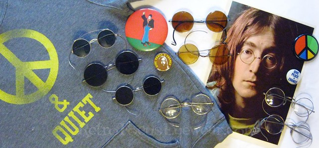 John Lennon Collage w Antique Round Spectacles Eyeglass Frames Collection by RetroFocusEyewear.com Give Peace A Chance Happy Birthday