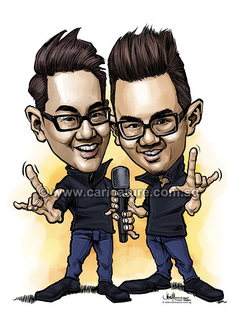 李伟菘和李思菘 digital caricature for Mediacorp TV Singapore Pte Ltd - colour (watermarked)