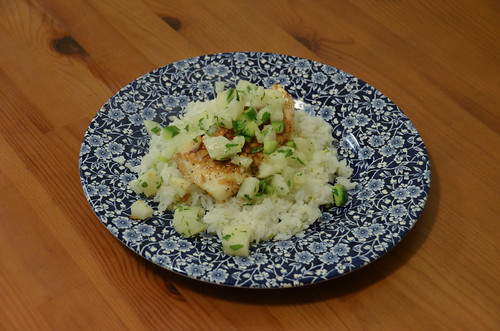 Tamarind-Glazed Cod with Lime Rice & Cucumber Relish