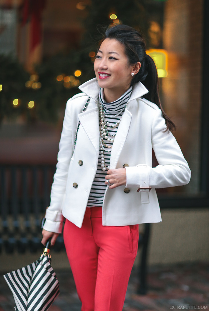 petite fashion cream jacket red pants business outfit