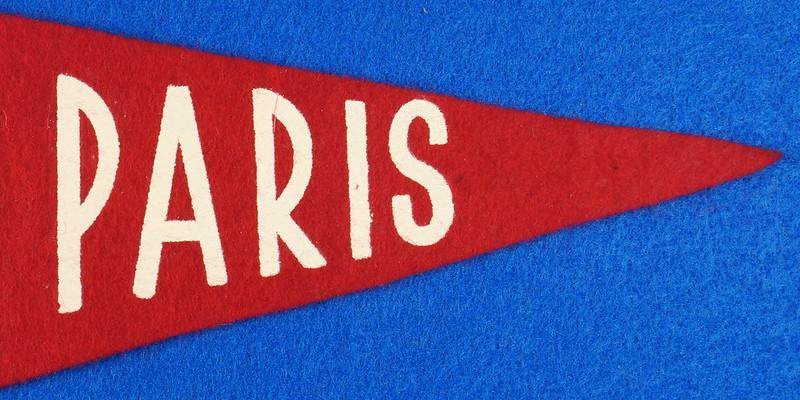 RD15161 Vintage France PARIS Eiffel Tower 2 Sided Red Mini Flag Felt Pennant 11 inch DSC08711