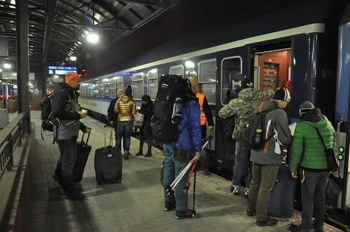 Praha Holešovice, nástup do hotelu směr Švýcarsko
