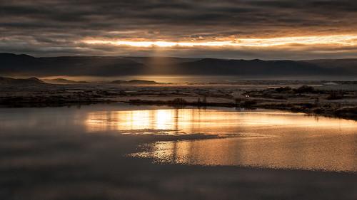 2016 iceland island mývatn fog golden lake sunrise landschaft landscape