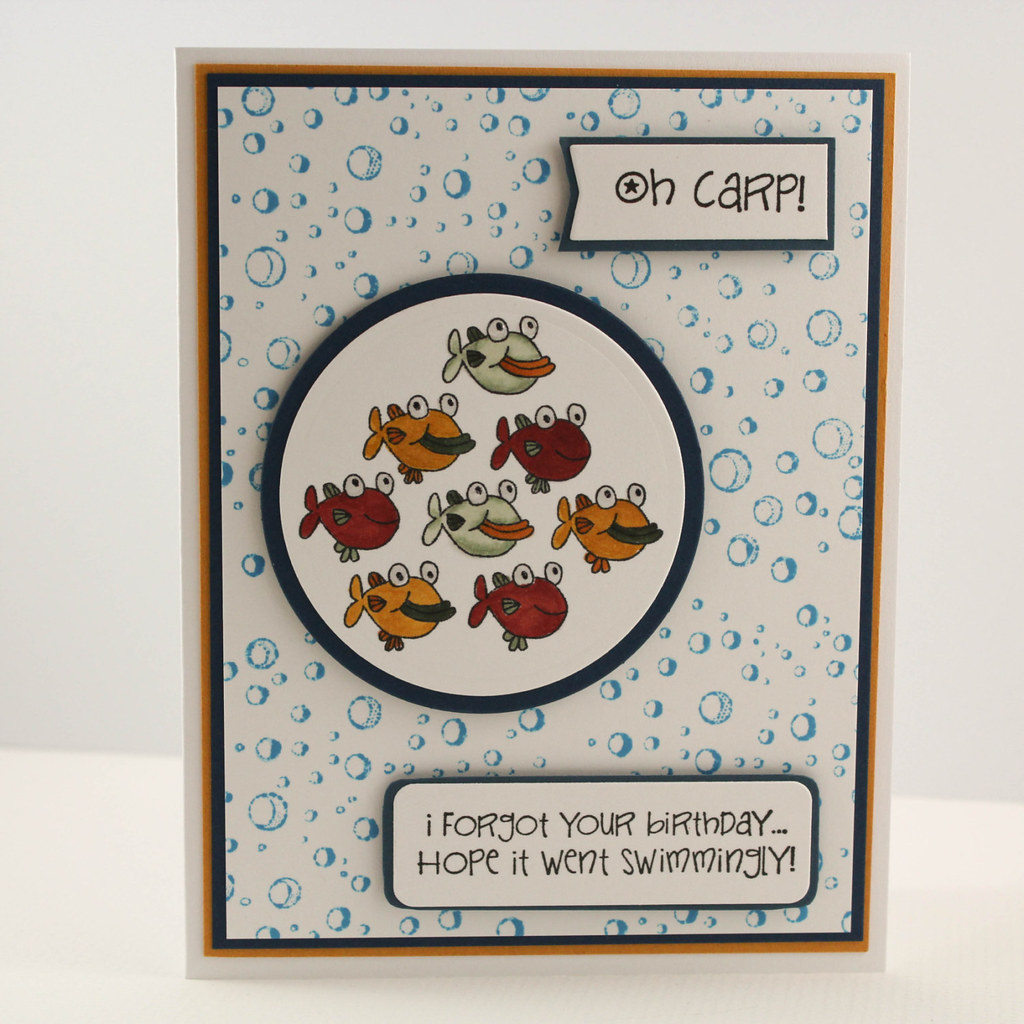 ... , Hand stamped Card, Carp Birthday Card, Funny Belated Birthday Card