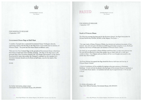 Correspondence regarding death of Diana, Princess of Wales (1997).