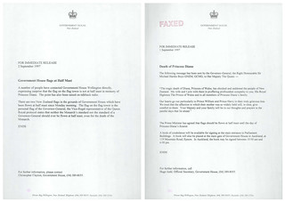 Correspondence regarding death of Diana, Princess of Wales (1997)