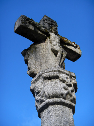 A granite cross outside the converted monastery at the Parador de Santo Estevo