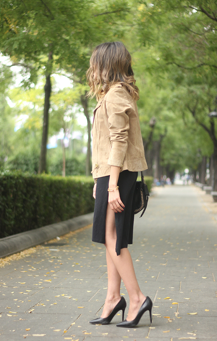 Suede Jacket Black Dress Coach Bag style fall outfit autumn06