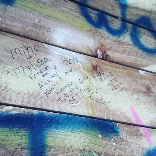 Graffiti at Papermill Falls Park I, Avon, NY. The picnic bench where we ate was a graffiti lover's paradise. #graffiti