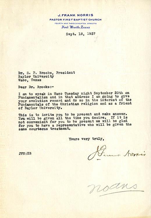 J. Frank Norris letter to Samuel Palmer Brooks, 1927