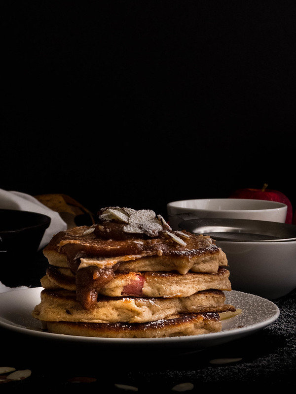 Apple Cider Pancakes with Apple Butter & Roasted Pecans