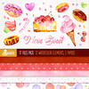 I love Sweet: 17 files Digital Pack (12 watercolor sweet elements, 5 backgrounds) paper crafts, scrapbooking. by octopusartis
