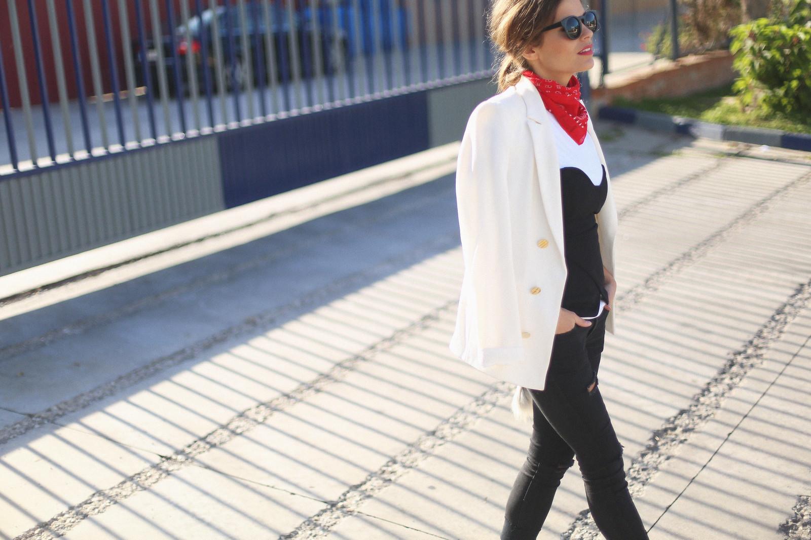 1. jessie chanes - white blazer gold studs booties