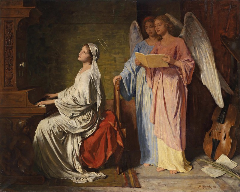 Simon Glücklich - S. Cecilia suona l'organo (1886)