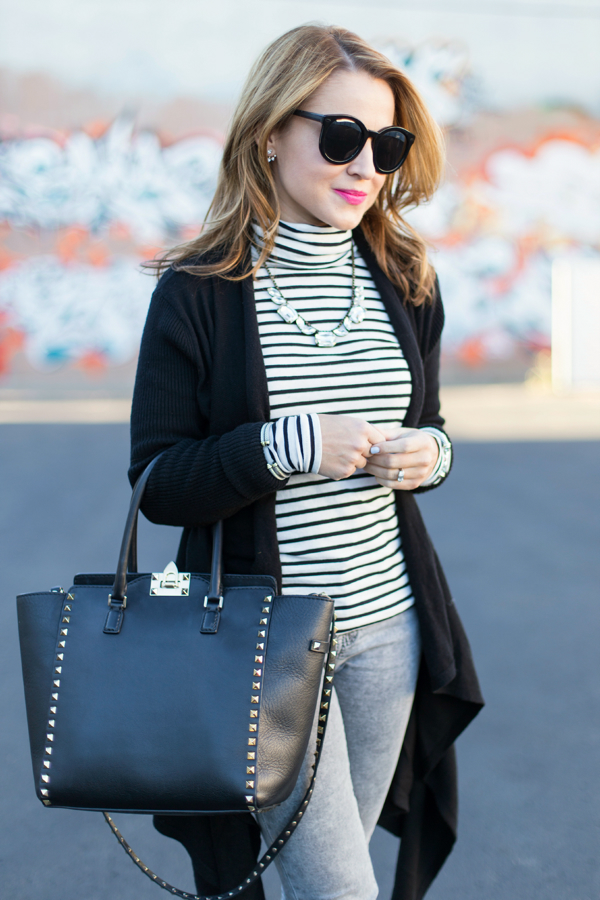 J.Crew Tissue Turtleneck + Nordstrom Leith Waterfall Cardigan