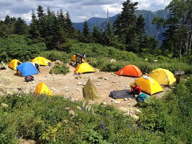 西穂高岳 西穂山荘 テントサイト