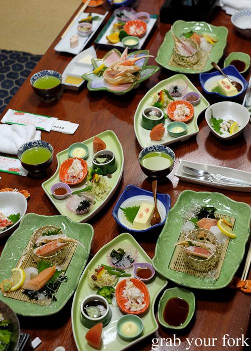 Crab banquet sets at Kani Honke in Sapporo, Hokkaido