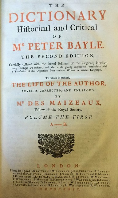 bayle 1735 title page