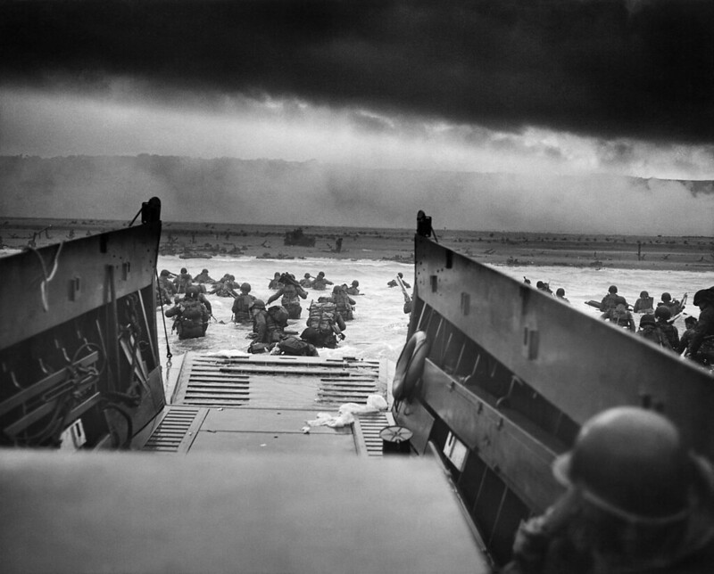 Into the Jaws of Death, the famous picture of US troops wading ashore on Omaha Beach on the D-Day