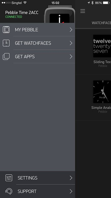 Pebble Time iOS App - Menu