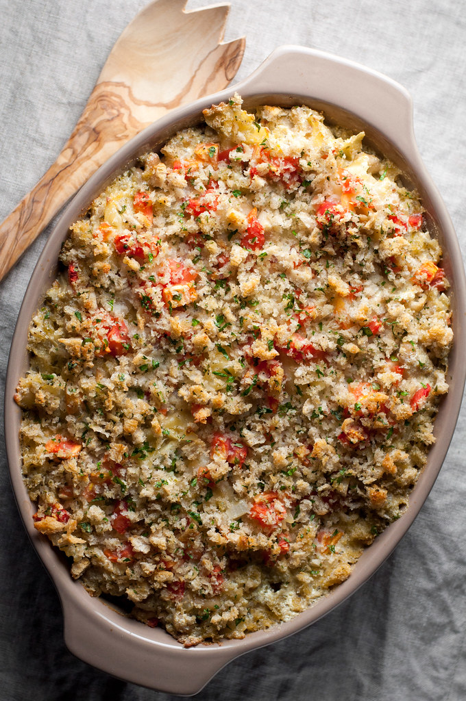 White bean pesto pasta bake, with lots of meatless protein!