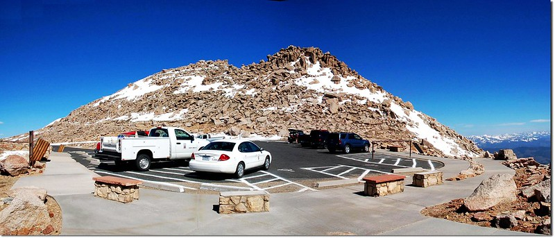 Mount Evans' summit from parking lot