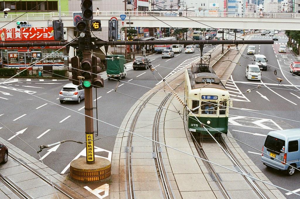 路面電車 長崎 Nagasaki 2015/09/07 長崎也是路面電車。  Nikon FM2 / 50mm Kodak UltraMax ISO400 Photo by Toomore