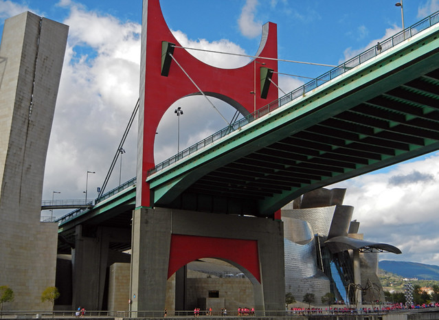 The bridge in Bilbao that leads over to the Guggenheim Modern Art Museum, designed by Frank Gehry's