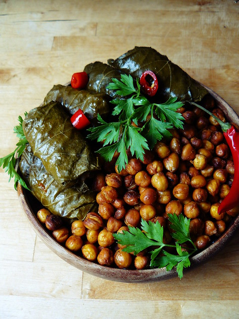 Roasted chickpeas and stuffed grape leaves