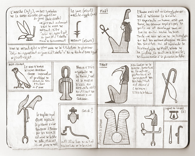 Carnet de voyage hiéroglyphique pages 10 et 11