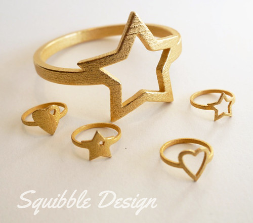 3d Printed Gold Steel Jewellery by Squibble Design