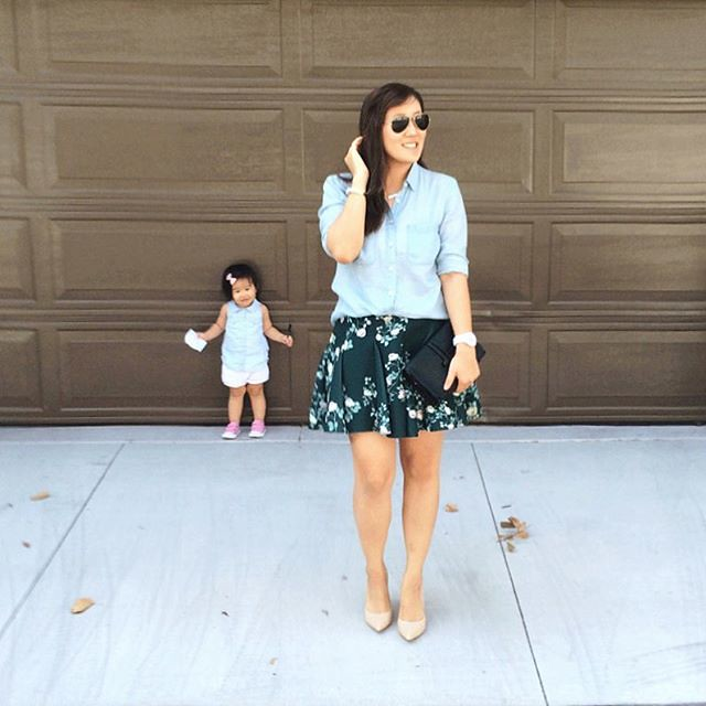 simplyxclassic, chambray top, floral skirt, jcrew, kohls, mommy, ootd, fashion style blogger