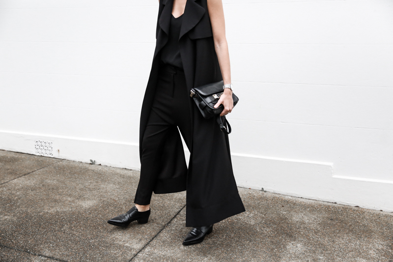 all black street style, minimal, sleeveless coat, Proenza Schouler PS11 Mini, Stella McCartney Loafers, American Express Shop Small, fashion blog, modern legacy (1 of 1)