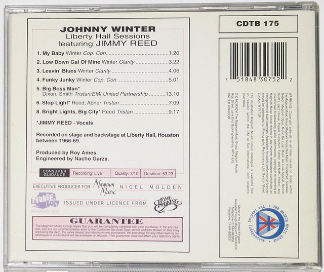 JOHNNY WINTER LIBERTY HALL SESSIONS JIMMY REED
