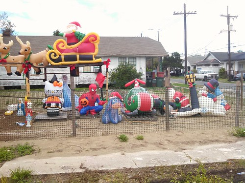 Inflatable characters celebrate the holidays
