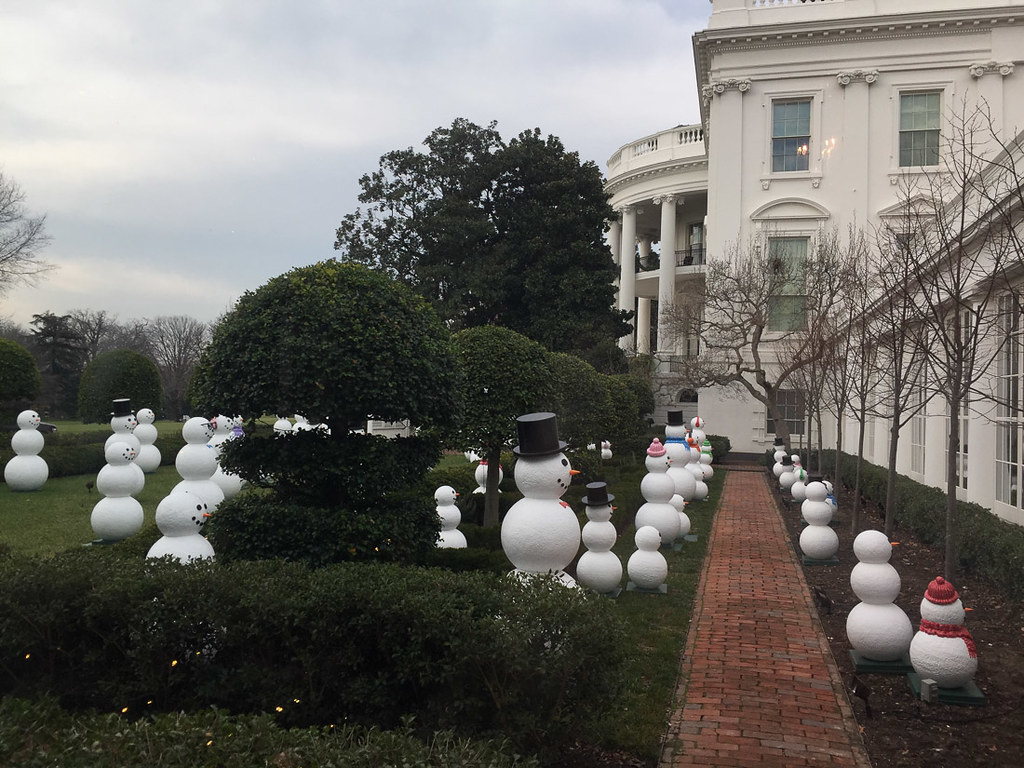 Snowmen Display on White House Lawn