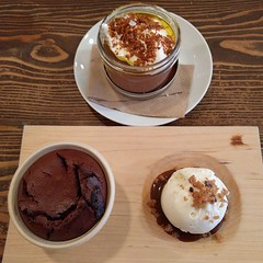 Hot Cake w/ Caramel, Ice Cream & Toffee; Chocolate Pudding w/ Whipped Cream & Bread Crumbs