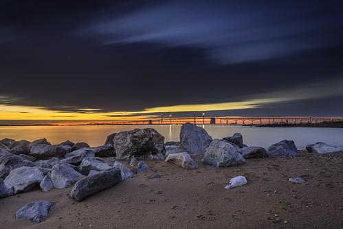 chesapeakebay chesapeakebaybridge sandypointstatepark sunrise dawn bluehour longexposure beach landscape lighttrails unfiltered pawprints yellowsand sliderssunday hss