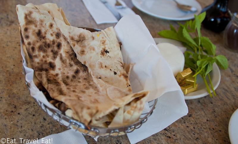 Javan Restaurant- Los Angeles (Sawtelle), CA: Lavash, Onions, Mint, Butter