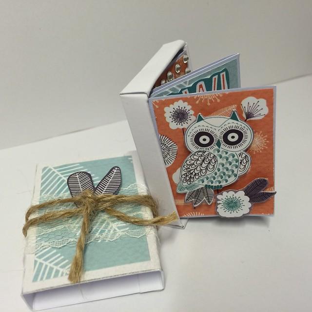 Owl Folk mini match box book by StickerKitten