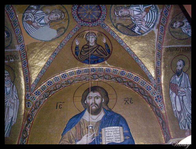 Grecia Delfos Osios Lukas Kalambaka - Frescos iglesia bizantina Kaholikon