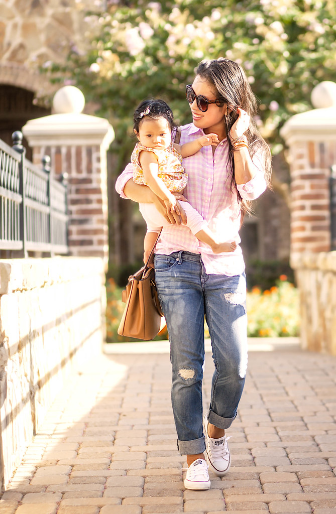 cute & little blog | pink gingham shirt, distressed boyfriend jeans, converse chuck taylor sneakers, tory burch mini robinson | momiform | mommy + me outfit