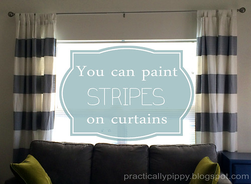 How to paint stripes on your curtains tutorial