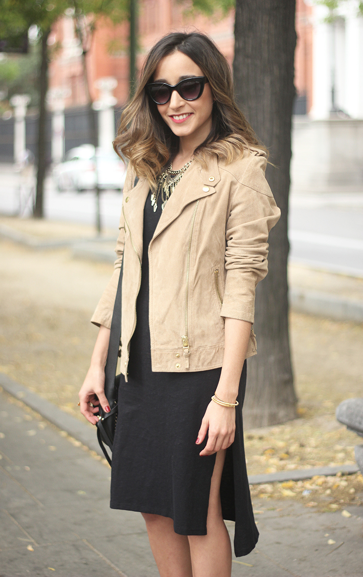 Suede Jacket Black Dress Coach Bag style fall outfit autumn12