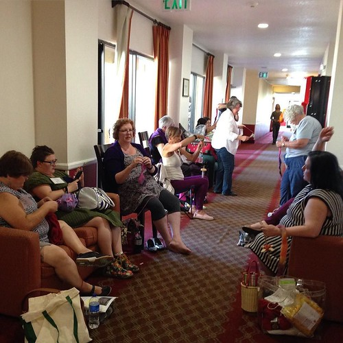 #cfr7 Knitting and spinning and crocheting in the hall.
